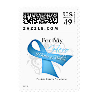 For My Hero I Wear a Ribbon Prostate Cancer Postage Stamp