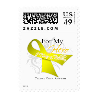 For My Hero, I Wear a Ribbon - Testicular Cancer Postage Stamps