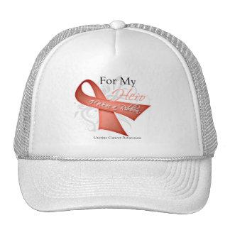 For My Hero I Wear a Ribbon Uterine Cancer Hats