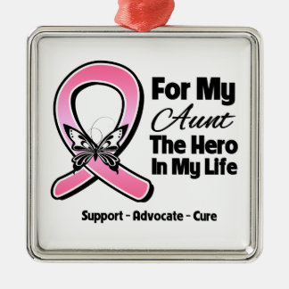 For My Hero My Aunt Breast Cancer Square Metal Christmas Ornament