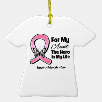 For My Hero My Aunt Breast Cancer Double-Sided T-Shirt Ceramic Christmas Ornament