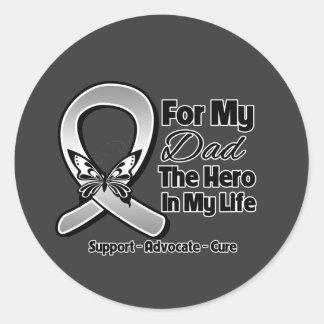 For My Hero My Dad - Brain Cancer Round Sticker