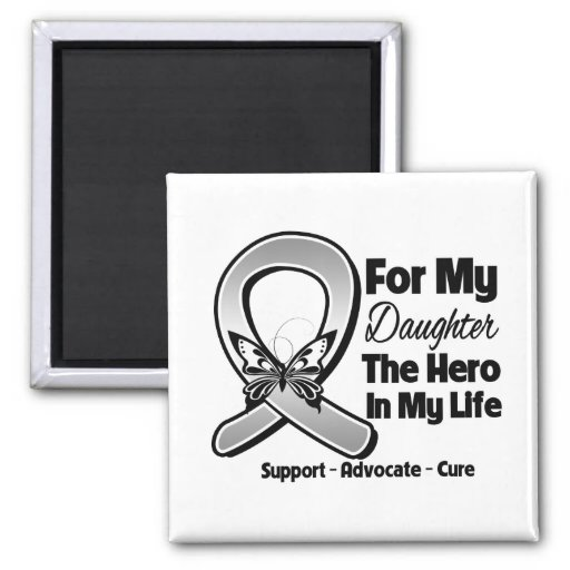 For My Hero My Daughter - Brain Cancer 2 Inch Square Magnet