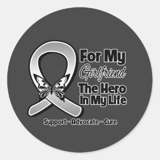 For My Hero My Girlfriend - Brain Cancer Round Stickers