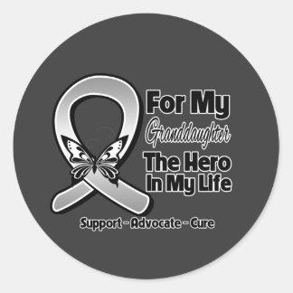 For My Hero My Granddaughter - Brain Cancer Round Sticker