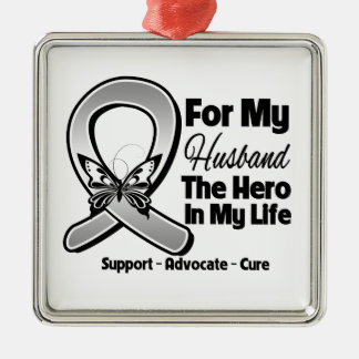 For My Hero My Husband - Brain Cancer Metal Ornament
