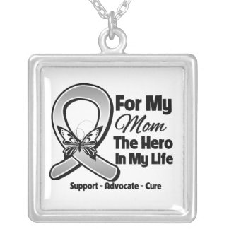 For My Hero My Mom - Brain Cancer Square Pendant Necklace