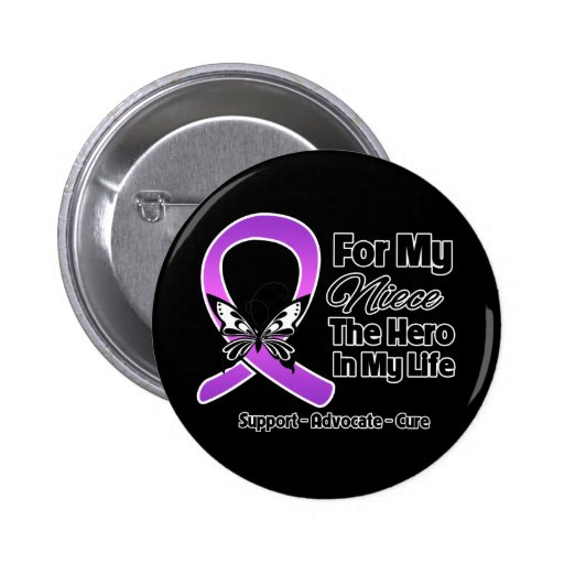 For My Hero My Niece - Purple Ribbon Awareness 2 Inch Round Button