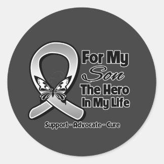 For My Hero My Son - Brain Cancer Round Stickers