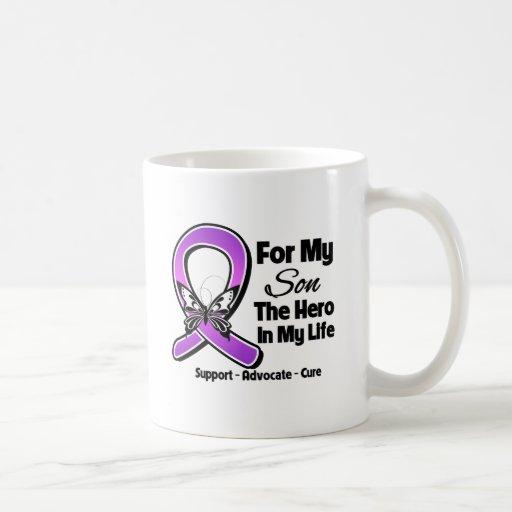 For My Hero My Son - Purple Ribbon Awareness Classic White Coffee Mug