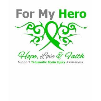 For My Hero Tribal Ribbon Traumatic Brain Injury shirt