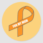 For My Mom (Orange Ribbon) Round Stickers