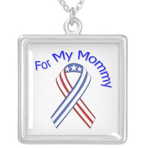For My Mommy Military Patriotic Square Pendant Necklace
