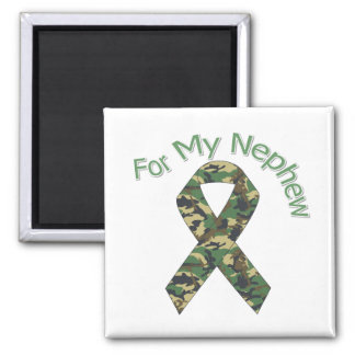 For My Nephew Military  Ribbon 2 Inch Square Magnet