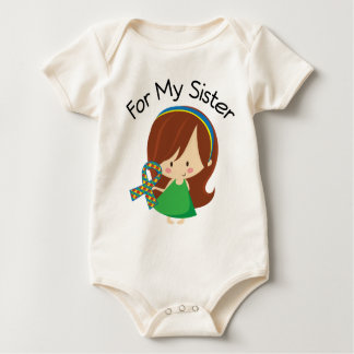 For My Sister Autism Awareness Ribbon Baby Bodysuit