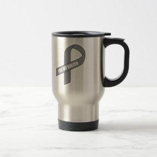 For My Sister Gray Silver Awareness Ribbon Mugs