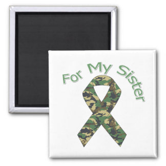 For My Sister Military Ribbon 2 Inch Square Magnet