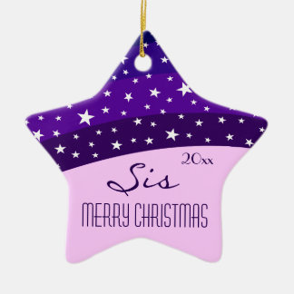 For My Sister-Whimsical Plum Sky Star Christmas Ceramic Ornament