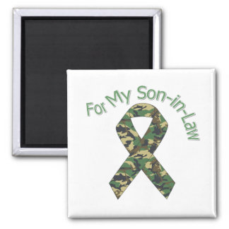 For My Son-in-Law Military  Ribbon 2 Inch Square Magnet