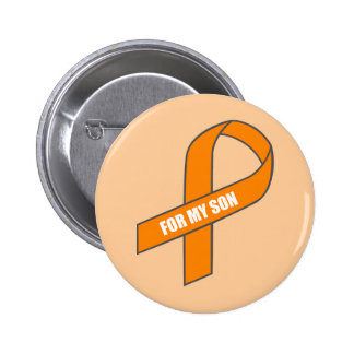 For My Son (Orange Ribbon) Button