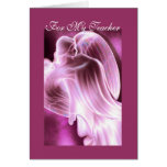 For My Teacher - Pink Angel Greeting Card