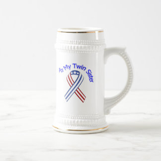 For My Twin Sister Military Patriotic Beer Stein