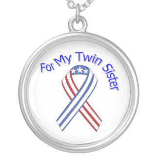 For My Twin Sister Military Patriotic Round Pendant Necklace