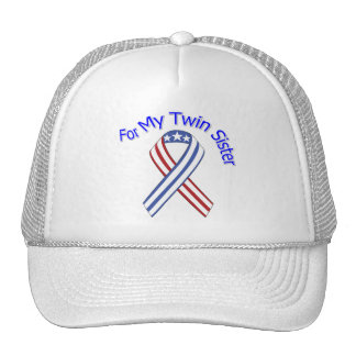 For My Twin Sister Military Patriotic Trucker Hat