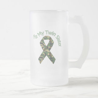 For My Twin Sister Military  Ribbon Frosted Glass Beer Mug