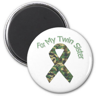 For My Twin Sister Military  Ribbon 2 Inch Round Magnet