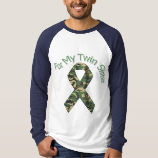 For My Twin Sister Military  Ribbon T-Shirt