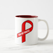 For My Uncle (Red Ribbon) Two-Tone Coffee Mug