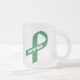 For My Wife (Green Ribbon) Frosted Glass Coffee Mug