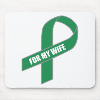 For My Wife Green Ribbon Mouse Pads