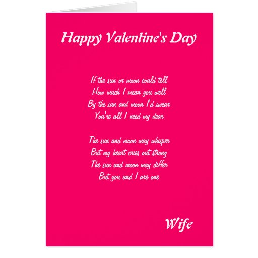 for my wife on valentine's day greeting card