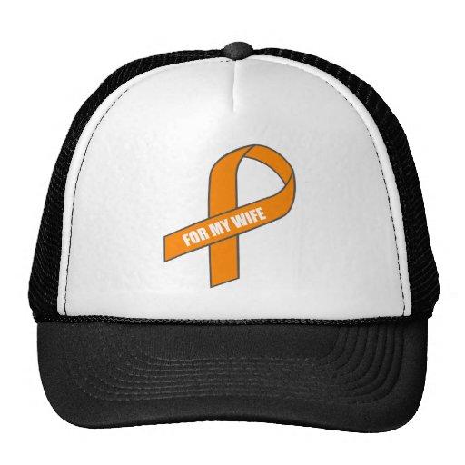 For My Wife (Orange Ribbon) Mesh Hats
