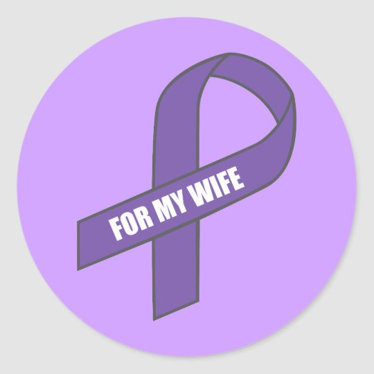 For My Wife (Purple Ribbon) Classic Round Sticker