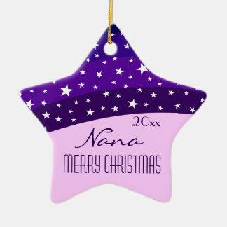 For Nana-Whimsical Plum Sky Star Christmas Double-Sided Star Ceramic Christmas Ornament