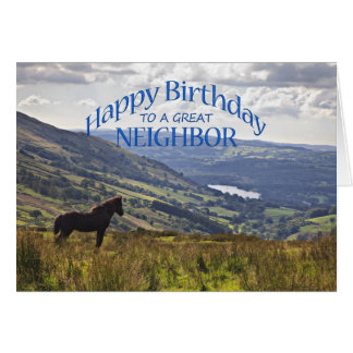 For neighbor a horse and landscape birthday card