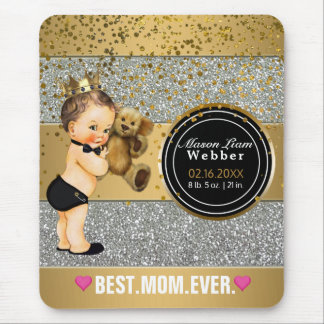 For New Mom | Baby Boy Birth Stats Gold Silver Mouse Pad