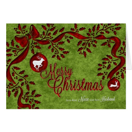 for Niece and her Husband Christmas Reindeer Greeting Card