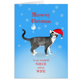 For Niece and her wife, Meowwy Christmas cat Greeting Card
