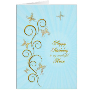 For niece, Birthday with golden butterflies Card