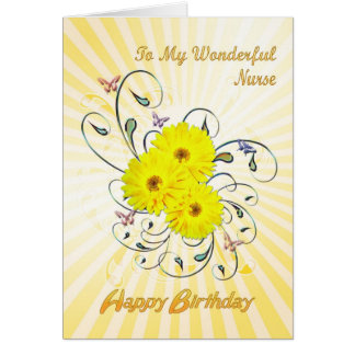 For nurse, birthday card with yellow flowers