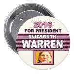 For President 2016 Elizabeth Warren 3 Inch Round Button