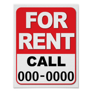 FOR RENT SIGN Customize your number 8.5 x 11