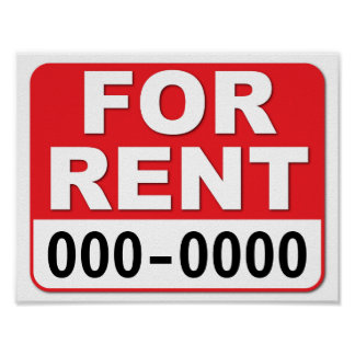 FOR RENT SIGN Customize your number 8.5 x 11 Poster