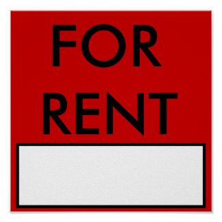 FOR RENT Sign/Poster Poster
