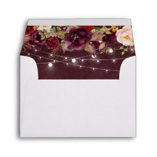 for RSVP - Rustic Burgundy Floral String Lights Envelope