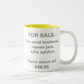 FOR SALE:, One used husband.- opens jars - kill... Two-Tone Coffee Mug